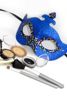 Free Blue Carnival Mask And Eyeshadows Royalty Free Stock Images - 4132849
