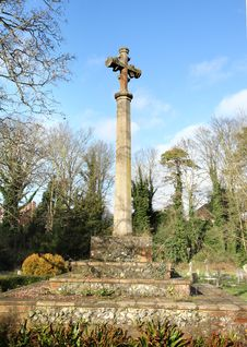 Stone Cross In An English Cemetery Stock Photos