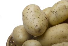 Potatoes On The Wicker Basket Royalty Free Stock Image