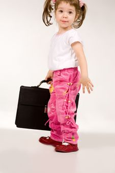 Free Little Girl With Suitcase On White Royalty Free Stock Image - 4134636