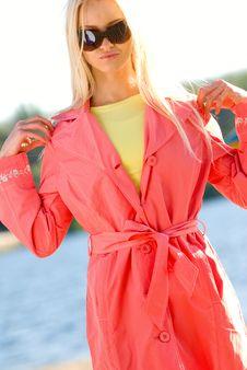 Beautiful Caucasian Model Wearing Red Fashionable Stock Image