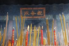 Free Burning Incense Before Kwan-yin Stock Images - 4134904