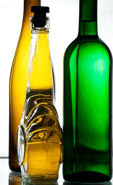 Some Vine Bottles Royalty Free Stock Photography