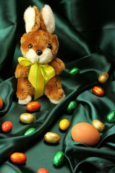Free Easter Eggs And Bunny Royalty Free Stock Photography - 4136127