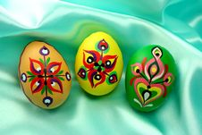 Ornamental Easter Eggs On Turquoise Satin Royalty Free Stock Images