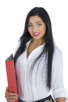 Free Business Woman With Folder Royalty Free Stock Photo - 4136755