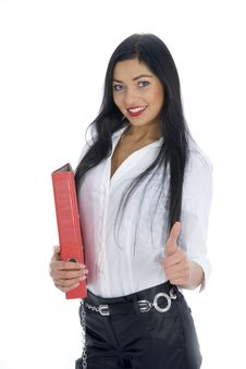Free Business Woman With Folder Stock Image - 4136761