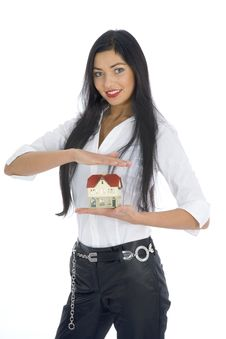 Free Business Woman Advertises Real Estate Royalty Free Stock Image - 4136766