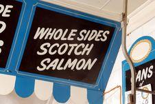 Free Fishmonger Sign - Scotch Salmon Stock Photography - 4137582