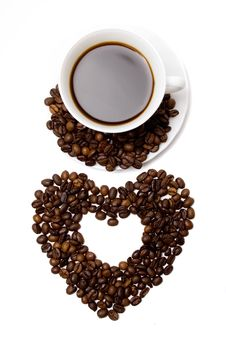 Free Heart Made From Coffee And A Cup Royalty Free Stock Images - 4137679