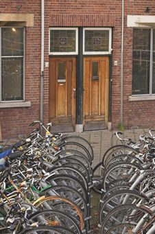 Free Parked Bicycles Royalty Free Stock Photos - 4137778