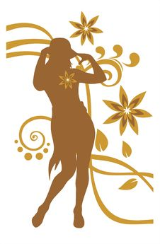 Free Girl And Bronze Flower Pattern Stock Photos - 4137853