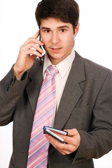 Free Businessman With Phone And Diary Royalty Free Stock Photo - 4138565