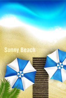 Free Azure Coast With Beach Umbrellas Royalty Free Stock Image - 41381116