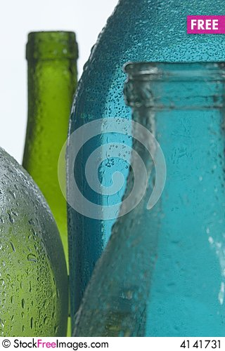 Free Wet Color Glass Bottles Stock Image - 4141731