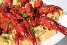 Pasta With Crawfish, Tomato Sauce Stock Images