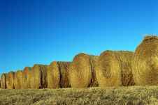 Round Bales Of Hay And Blue Sky Royalty Free Stock Image
