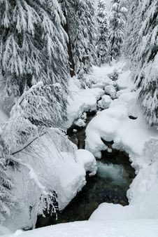 Free Creek With Heavy Snow Stock Photos - 4143003
