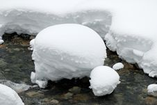 Free Snow Ball In The Creek Stock Photography - 4143092