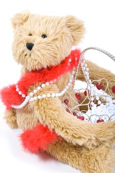 Free Teddy Bear And Basket Stock Images - 4143314