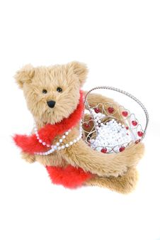 Free Teddy Bear And Basket Stock Image - 4143341