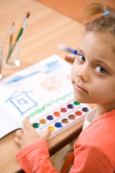 Free Pretty Caucasian Child Paint Watercolor Royalty Free Stock Image - 4143366