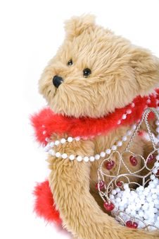 Free Teddy Bear And Basket Of Beads Stock Photos - 4143373