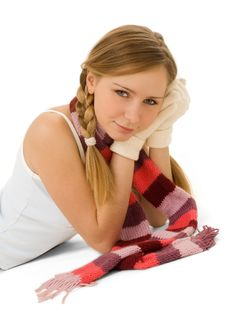 Beauty In Scarf And Gloves Isolated Royalty Free Stock Image