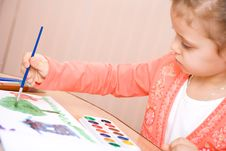 Free Pretty Caucasian Child Watercolor Paint Stock Image - 4143441