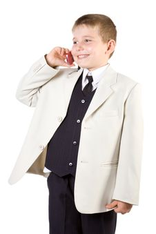 Free Well-dressed Boy Like Businessman Calling At Phone Stock Photography - 4143472