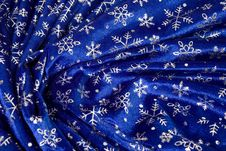 Free Crumple Blue Cloth With Snowflakes Royalty Free Stock Photos - 4143598