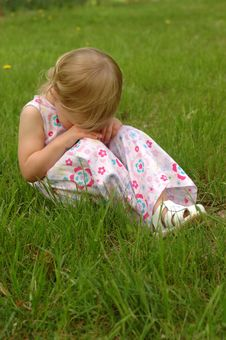 Free Little Blonde Girl, Sad Royalty Free Stock Photography - 4144257