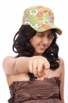 Free Asian Girl Pointing Stock Image - 4144511