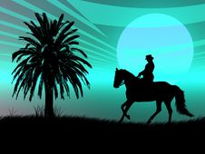 Free Equestrian In The Sunset Stock Images - 4144604