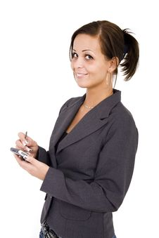 Business Woman With PDA Stock Images