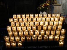 Candle Offerings, Notre Dame, Paris Royalty Free Stock Images