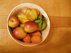 Bowl Of Fruit On Table Royalty Free Stock Photography