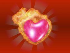 Free 3D Burning Heart Royalty Free Stock Photos - 4147928