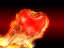 Free 3D Burning Heart Royalty Free Stock Images - 4148039