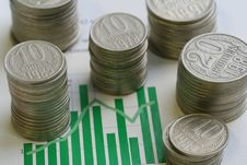 Coins And Graph Royalty Free Stock Photos