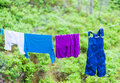 Free Child Clothes On Laundry Line In Woods Royalty Free Stock Photos - 41421798