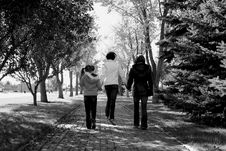 Sisters Walking Stock Photo