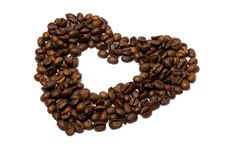 The Heart Symbol Made From Coffee Beans Stock Photography