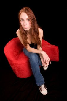 Free Beautiful Redhead Seated Stock Image - 4152241
