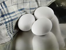 Free Three Eggs In A Metal Dish Stock Photo - 4152340