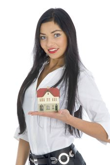 Free Business Woman Advertises Real Estate Stock Images - 4154774