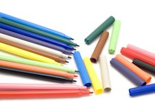 Free Colored Marker On White Stock Photography - 4154992