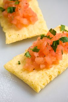 Free Tomato Salsa And Maize Bread Stock Images - 4155724