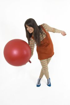 Free Girl With Training Ball Stock Photo - 4156270