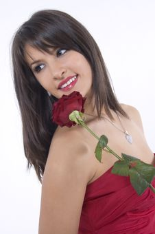 Free Girl And Rose Stock Photo - 4156550